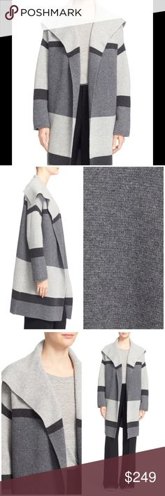 """Vince colorblock wool/Cashmere knit car coat A cozy sweater-knit coat with a wide spread collar is crafted from a rich blend of wool and cashmere with grayscale color blocking. - 37"""" length - No closure - Spread collar - Long sleeves - Dropped shoulders - 70% wool, 30% cashmere - Dry clean or hand wash cold, dry flat Oversized by design; for a closer fit, order one size down. Vince Sweaters Cardigans"""