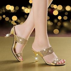 Rhinestone sandals and slippers new summer female diamond female fashion sexy high-heeled sandals and slippers all-match word Beautiful High Heels, Sexy High Heels, Crazy Shoes, Me Too Shoes, Shoe Boots, Shoes Heels, Heeled Sandals, Bridal Sandals, Stylish Sandals