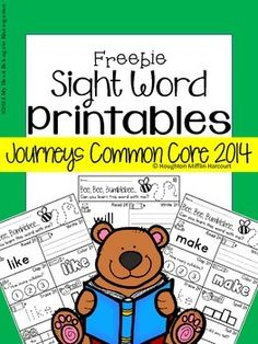 Journeys 2014 Kindergarten - High Frequency Words FREEBIE! Students will learn their words in no time as they read, write, clap, color, trace, spell, find and tell! Try before you buy...this freebie is a sample of a larger set!