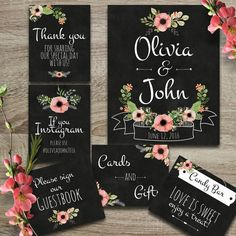 DIY digital wedding printable signs, modern floral chalkboard decor - welcome, cards and gifts, guestbook, candy bar, instagram, thank you