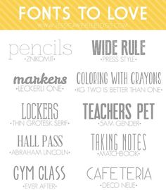 10 Free Fonts to Love | jessicaweibleblogs.com  ~~ {9 Free fonts w/ easy download links -- 5 a.m. Gender is a pay font - avoid any link/site that offers it free!}