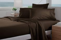 Destiny Collection 1800 Thread Count Luxurious Heavy Egyptian Cotton 4-PCs Sheet Set Fits Mattress 7-9'' Deep Pocket (Grand King Size Sheets for Bed (Solid, Chocolate) King Size Bed Sheets, Soft Bed Sheets, Flat Sheets, Egyptian Cotton Sheets, Mattress Pad, Cotton Sheet Sets, Queen Size, Luxury, Interior