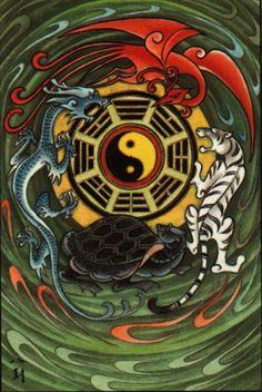 dragon-phoenix-tiger-turtle-yin-yang.jpeg (669×1000)