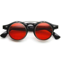Retro red Round sunglasses