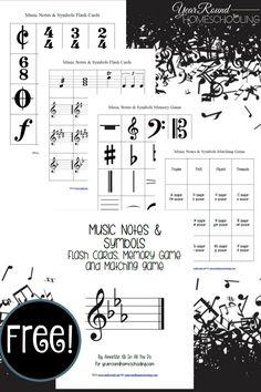 {free} Music Notes & Symbols Printables - Year Round Homeschooling #Free #MusicNotes #Music #Homeschooling