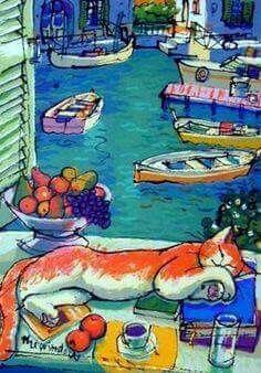 Arte Dorme Henri Matisse, 1849-1954 | 'Sleeping Cat' (JA, Dez17)