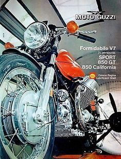Pubblicità originale anni 70 MOTO GUZZI V7 Sport Advert werbung reklame vintage Moto Guzzi Motorcycles, Indian Motorcycles, Guzzi V7, Motorcycle Manufacturers, Motorcycle Art, Sidecar, Cool Bikes, Motorbikes, Racing