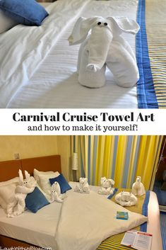 Towel art! It's one of the things I look forward to daily on a Carnival cruise. It is so exciting to come back to the stateroom and see what surprises will be left. Click over to the blog to see more and learn how you can make your own! #CruisingCarnival Hosted