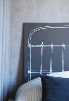 """If you want to put the """"wow"""" factor into your bedroom design, then making the headboad the focal point of the room is a good place to start. Diy Bed Headboard, Diy Headboards, Painted Headboard, Headboard Ideas, Home Decor Bedroom, Diy Home Decor, Diy Bedroom, Furniture Makeover, Home Furniture"""