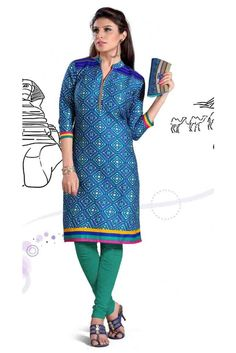 Handsome Blue Cotton Printed Readymade Kurti