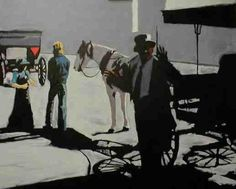 """The Art Tutor and the Chromatic Black: """"Shadow Rides"""", oil on canvas, 24x30"""". This painting was done using chromatic black and the resulting grays."""