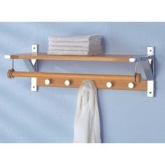 Wall Bathroom Shelf with Towel Bar and Hooks.