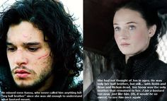 Jon Snow and Sansa Stark (Alayne Stone). ASOIAF/GOT