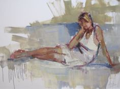 "Barbara Flowers, ""In Thought"", Oil on Canvas, 30x40 - Anne Irwin Fine Art"