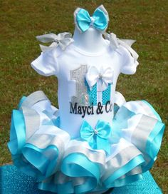 Tiffanys ribbon trim tutu Tiffany birthday outfit by MommaMays