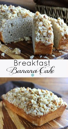 Breakfast Banana Cake is a simple and delicious quick bread that is as delicate as a cake. A chunky sweet mixture of cereal and nuts is baked on top.