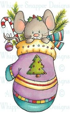 ⌘ WHIPPER SNAPPER DESIGNS ⌘ Mitten Mouse - Fall/Winter 2013 - Rubber Stamps - Shop