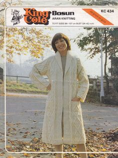 King Cole C434: Fabulous aran coat vintage knitting pattern from early 1980. Balls were probably 50g (takes between 27-34 balls depending which size you knit or wool you use) To fit 34 inch -42 inch bust, length at back 41-43.5 inches (adjustable), always work a tension square and allow some extra wool, not too difficult this pattern. and would look nice as an edge toedge jacket made a bit shorter, or with a tie belt. Pattern a bit worn and back is shelf worn, but it is sound and clean.