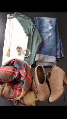 ~ÂŪTŪMÑ ÕÛTFÎT: olive green baseball tee, flannel, rolled jeans, and brown boots~