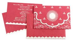 D-796 Dark pink colored handmade paper with white and silver border design http://www.scrollweddinginvitations.com/D-796.html