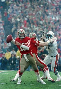 The put on a dominant display against the Dolphins at Stanford Stadium on Jan. to win their second Super Bowl in four years, as Joe Montana leads the offensive attack en route to his second Super Bowl MVP. 49ers Players, Nfl Football Players, Football Helmets, Football Moms, Football Art, Nfl 49ers, 49ers Fans, Forty Niners, Joe Montana