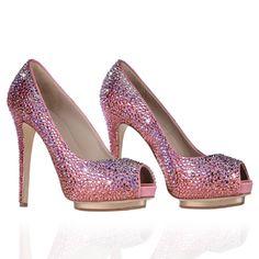 Decollete' spuntata in Satin, raso di seta e cristalli rosa