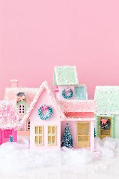 DIY Colorful Christmas Village - Studio DIY Magical Christmas, Noel Christmas, Vintage Christmas, Christmas Mantles, Christmas Wonderland, Christmas Brunch, Victorian Christmas, Christmas Design, Christmas Christmas