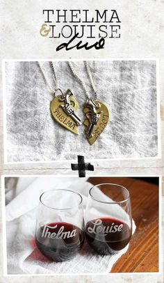 "Thelma & Louise Wine Glasses and Necklace Duo - What better way to celebrate your best friend, who brings out the rebel in you, than with wine and matching necklaces. Each order contains two heart necklaces, and 2 wine glasses - one for Thelma and one for her Louise. The 4.5"" tall custom glasses provide a generous 17 ounces to hold the grape of your choice. Necklaces: 18 inch Sterling Silver Chain Brass Engraved Split Heart Silver Alloy Revolver $73.99"