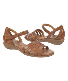 Look at this Saddle Tan Caliah Leather Sandal on #zulily today!