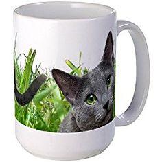 Russian Blue Cat Large Mug - Coffee Mug, Large 15 oz. White Coffee Cup