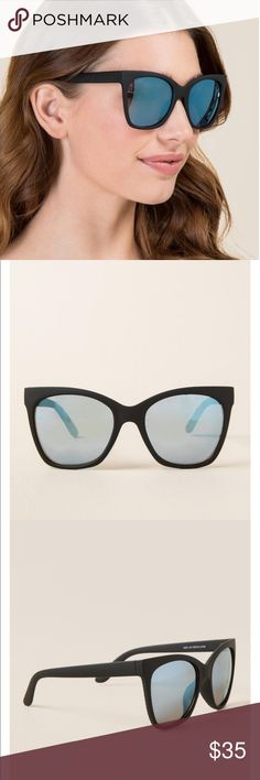 Black blue Lense Matte Oversized Cateye Sunglasses New & never worn! Slight cat eye oversized lenses are everything right now!! Purchased these at a local boutique called Ivy & Leo! See last photo for any measurement details on these sunnies!  Please note these aren't Quay Australia only tagged for exposure purposes. Accessories Sunglasses