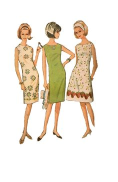 Retro Sewing Pattern McCalls 60s Mad Men Style Dress Basic Sheath Dress Dart Fitted A-line Sleeveless Casual Day Dress Bust 36 38 via Etsy