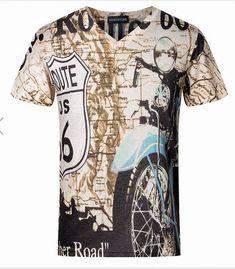 Mens Cotton Blend Map Printed V Neck Short Sleeved Tshirts  MensT-shirts e5a25a87698d