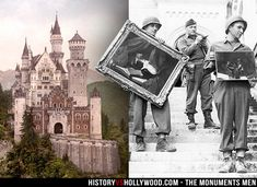 Neuschwanstein Castle in Germany was where many paintings, sculptures, etc. were hidden by the Nazis. The Monuments Men are pictured removing paintings from the castle.