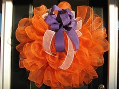 Orange with Purple ribbon  Mesh Wreath by DoorKandy on Etsy, $45.00