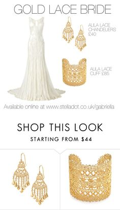 """Gold Lace Bride"" by gabrielladriver on Polyvore featuring Phase Eight, Stella & Dot, women's clothing, women's fashion, women, female, woman, misses and juniors"