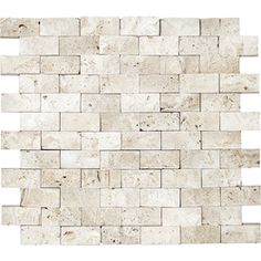 Ivory Travertine Split Face Natural Stone Mosaic Subway Wall Tile (Common: 12-in x 12-in; Actual: 11.02-in x 11.53-in)
