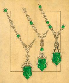 Diamond Necklaces : John Rubel - Croquis d'Archives - Colliers Emeraudes - Buy Me Diamond Necklace Drawing, Art Deco Necklace, Necklace Designs, High Jewelry, Jewelry Art, Antique Jewelry, Emerald Necklace, Diamond Necklaces, Jewelry Design Drawing