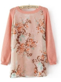 Sheer Floral Print Crew Neck Knitwear Jumper