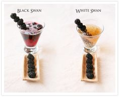 """These cocktails were inspired by Natalie Portman's performance in """"The Black Swan"""" as a relentlessly driven ballet dancer whose obsession with perfection warps her mind. Black Swan, one movie, two drinks, one White Swan, Black Swan, Best Blackberry, Blackberry Recipes, Bar Drinks, Drink Bar, Beverages, Strong Cocktails, White Raspberry"""