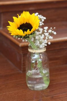 wildflower sunflower babys breath wedding bouquets | Centerpieces with one Sunflower and Baby's Breath