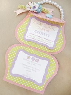 Cute invitation idea for a girly party - maybe a tea party? Love the pearl handle idea!