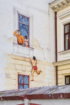 Street art in Bucharest :))))))))) (via Bucuresti Optimist) Street Installation, Visit Romania, Little Paris, Bucharest, Beautiful Places To Visit, Illustration Art, Illustrations, Sculptures, Scene