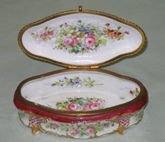 French Sevres Porcelain box, oval shaped.  Length 8 in.