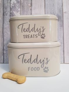 Personalised dog tins which are perfect for storing both food and treats! Dog Photo Frames, Little Girl Pictures, Sweet Jars, Dog Treat Jar, Gotcha Day, Personalised Frames, Vinyl Labels, Jar Gifts, Tins