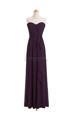 #bridesmaid Long Grape Chiffon Sweetheart Neck Bridesmaid Dress BDS-CA037