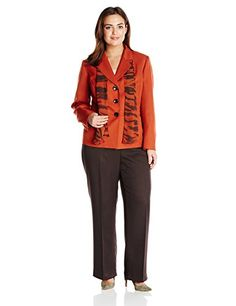 Le Suit Women's Plus-Size Three Button Inset Waist Jacket Pant and Scarf Set, Paprika/Bark, 16 Le Suit http://www.amazon.com/dp/B00LX4JW9M/ref=cm_sw_r_pi_dp_HhB8vb1YKA86C