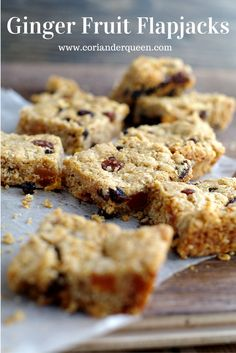 Seriously yummy ginger fruit flapjacks, soft oaty deliciousness with sweet hits of dried fruit and the heat of ginger and cinnamon. Yum!
