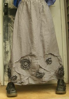 Long Swirly Scrunch Skirt by sarahclemensclothing on Etsy, $110.00