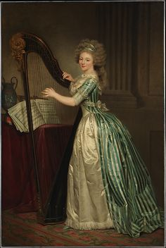 Rose Adélaïde Ducreux (French, 1761–1802). Self-Portrait with a Harp, 1791. The Metropolitan Museum of Art, New York. Bequest of Susan Dwight Bliss, 1966 (67.55.1) | This work has been identified with a self-portrait that Mademoiselle Ducreux exhibited at the Paris Salon of 1791. The sitter's graceful pose and the sumptuous fabrics were admired by contemporary critics.